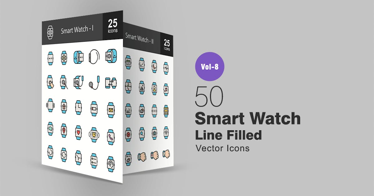 50 Smart Watch Line Filled Icons by IconBunny
