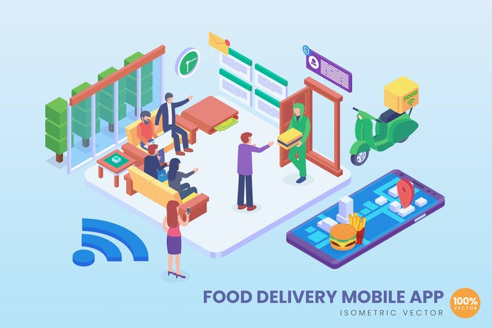 Thumbnail for Isometric Food Delivery Vector Concept