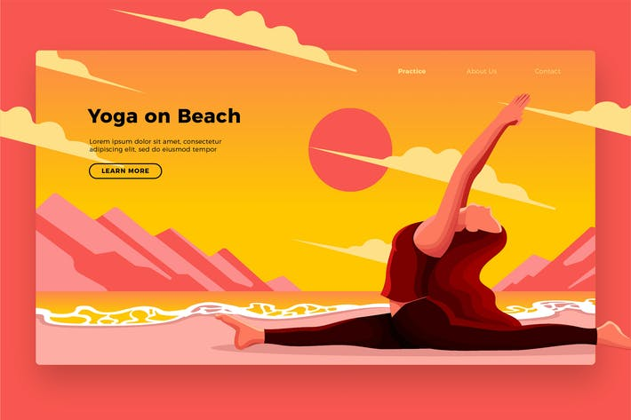 Thumbnail for Yoga On Beach - Banner & Landing Page