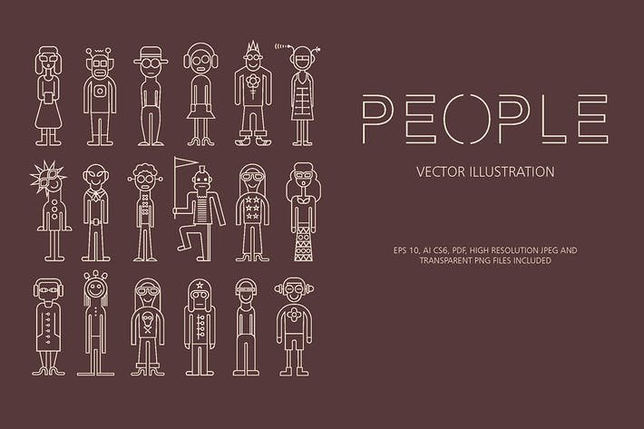 Thumbnail for People outline vector icon set