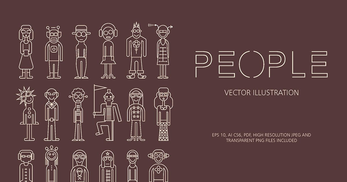 Download People outline vector icon set by danjazzia