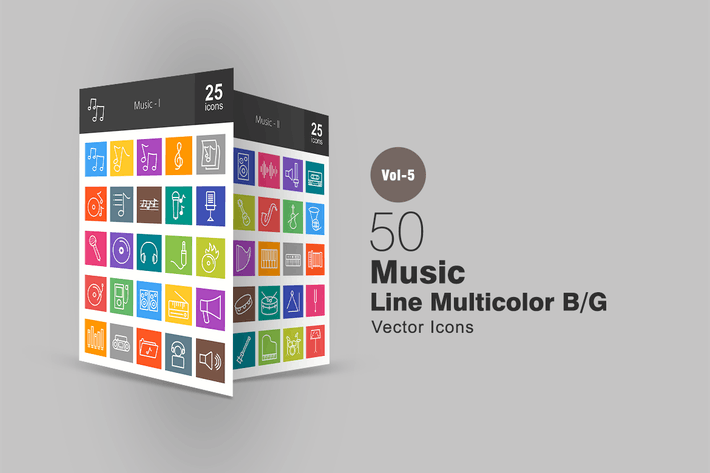 Cover Image For 50 Music Line Multicolor Icons