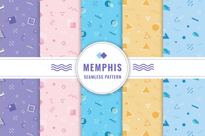 Thumbnail for Memphis Seamless Pattern Collection
