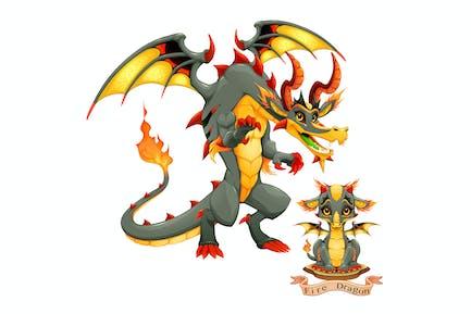 Dragón de Fuego Elemento - Cachorro y Adulto