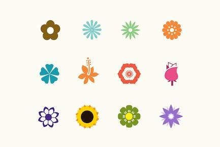 12 zeitgenössische Blumen-Icons
