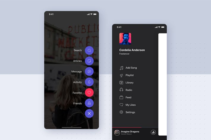 Thumbnail for Menu - Navigation UI Mobile Template