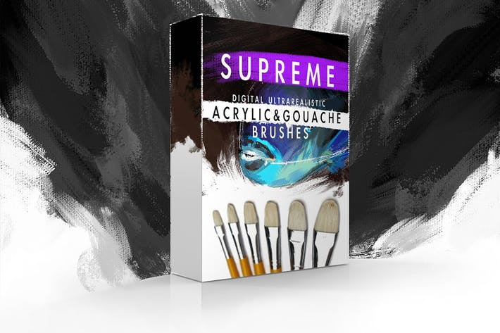Cover Image For Supreme Acrylic & Gouache Photoshop Brushes