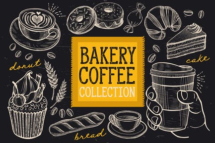 Bakery & Coffee Doodle Elements