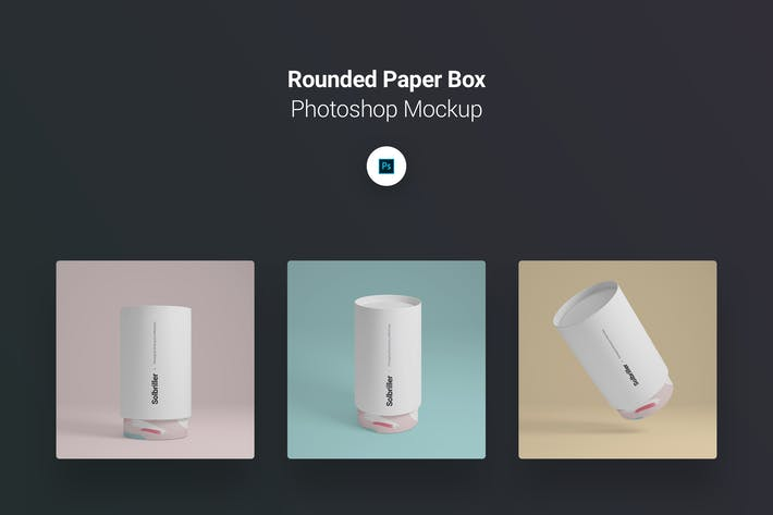 Thumbnail for Rounded Paper Box Photoshop Mockup Pack