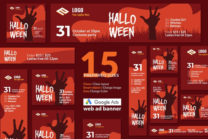 Thumbnail for Halloween Event Google Ads Web Banner - Huen