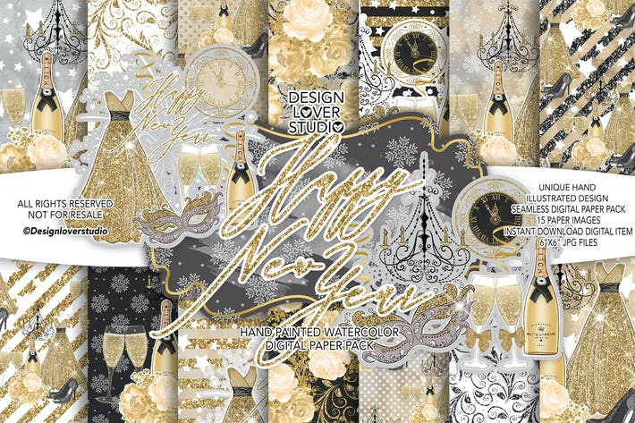 Cover Image For Happy New Year digital paper pack