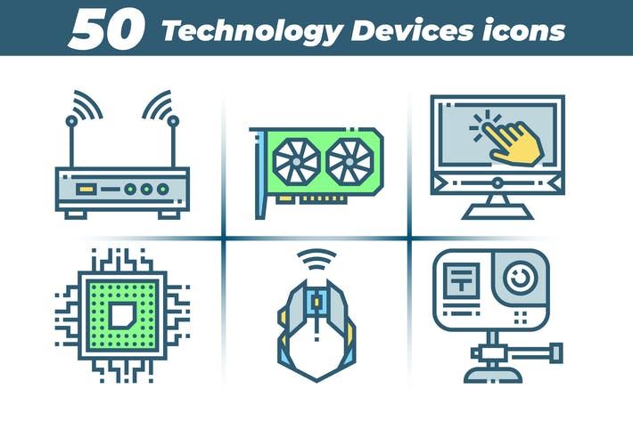50 Colorful Technology Devices Icons