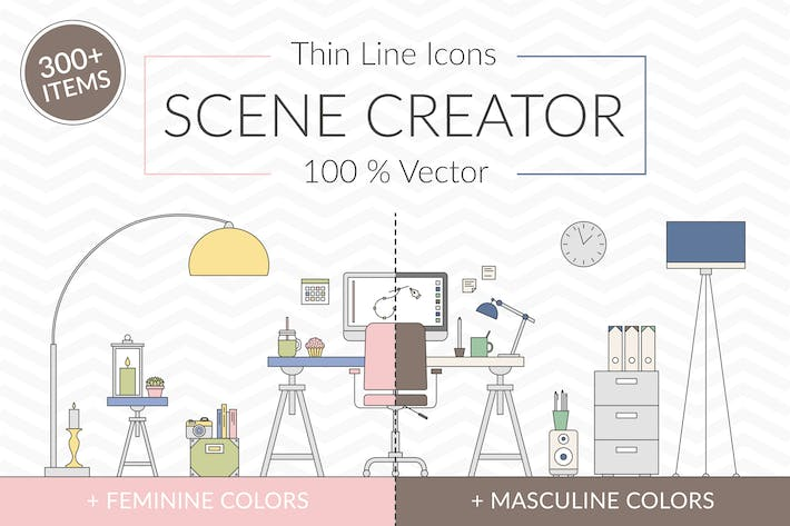 Thumbnail for Vector Thin Line Scene Creator