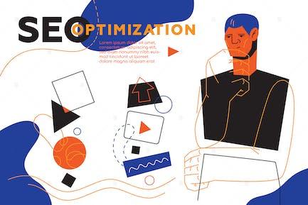 SEO Optimierung - flaches Design Stil WebBanner