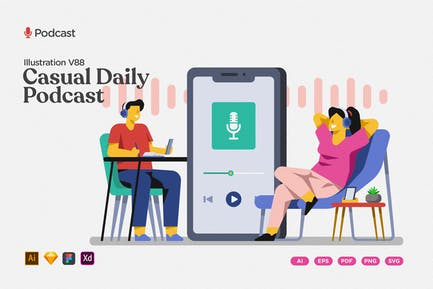 Podcast Illustration - Casual Daily Topics