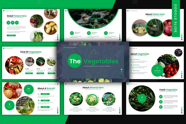 Cover Image For The Vegetables - Google Slide Template