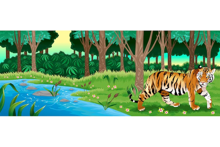 Thumbnail for Green Forest with a Tiger