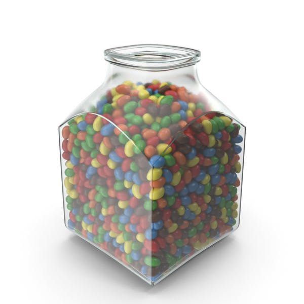 Cover Image for square Jar with Peanuts with Colored Chocolate Coating