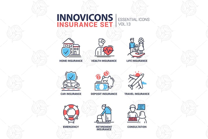 Thumbnail for Types of insurance line design icons set