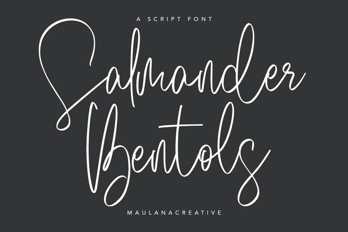 Thumbnail for Salmander Bentols Script Signature Typeface Font