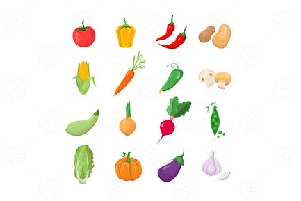 Natural Veggies - vector flat design icons set