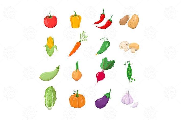 Thumbnail for Natural Veggies - vector flat design icons set
