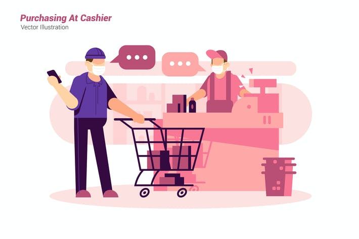 Purchasing At Cashier - Vector Illustration