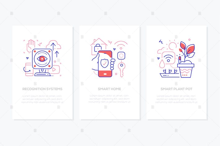 Thumbnail for Smart devices - line design style banners set
