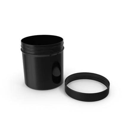 Black Plastic Jar Wide Mouth Straight Sided 6oz Cap Laying