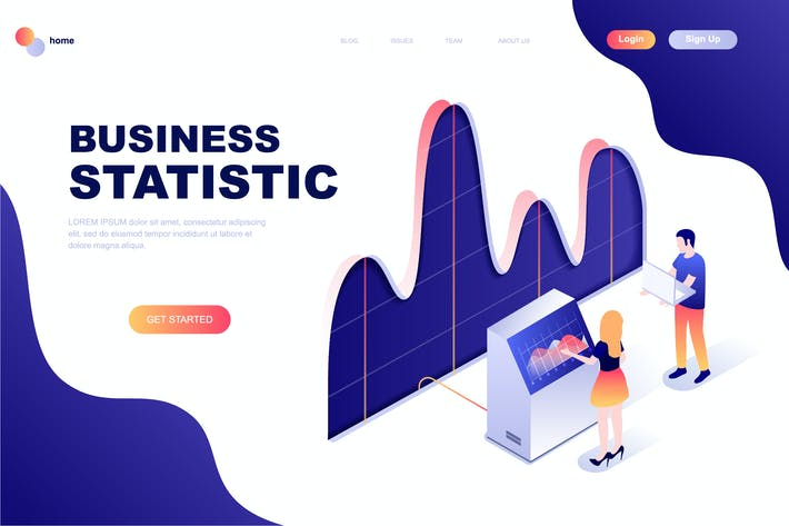 Cover Image For Business Statistic Isometric Landing Page Template