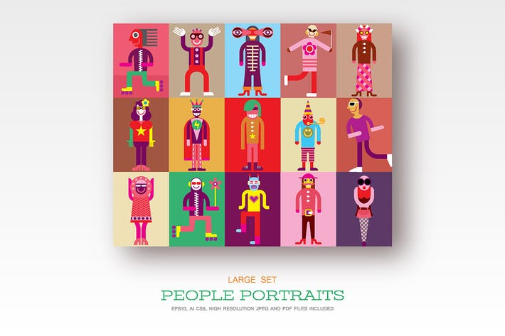 Thumbnail for People portraits, flat style vector illustrations