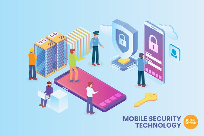 Thumbnail for Isometric Mobile Network Security Vector Concept