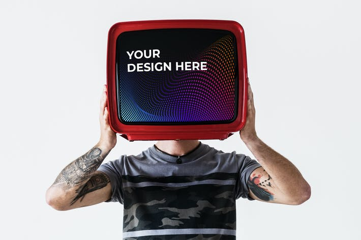 Thumbnail for Person with tattoo holding television mockup