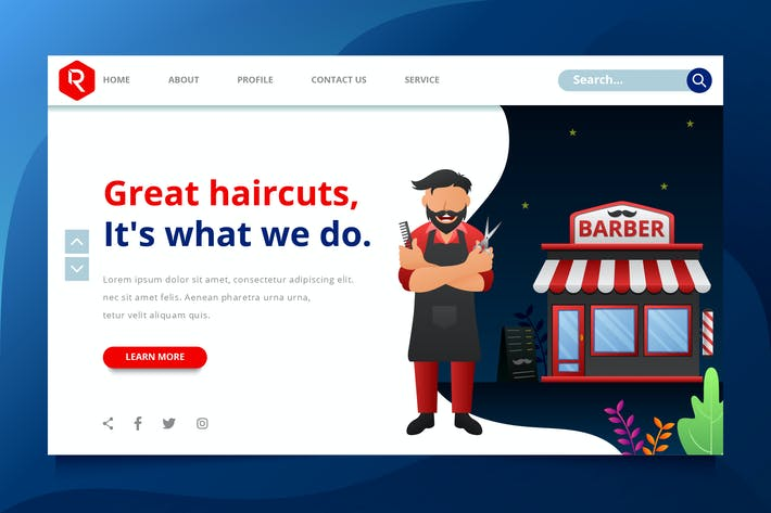 Thumbnail for Barbershop Web Header Template