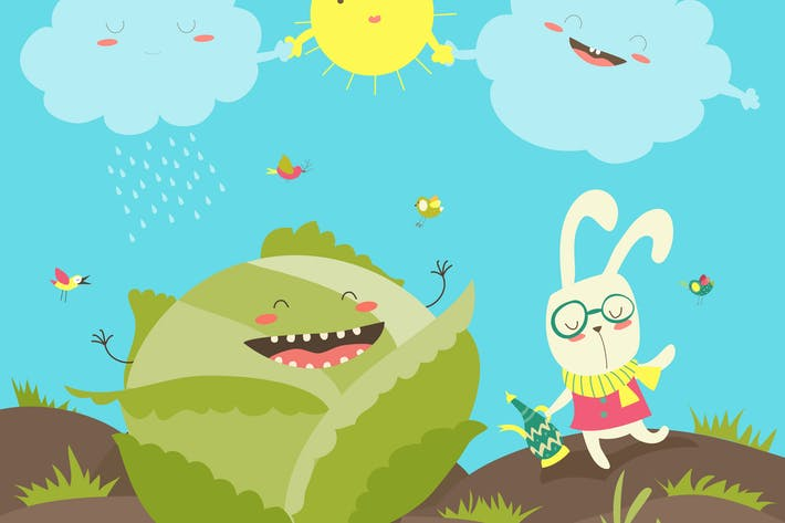 Thumbnail for Pretty little rabbit and cabbage field. Vector