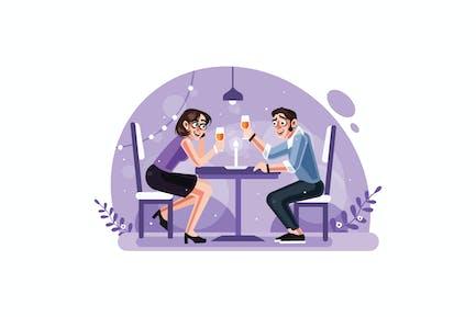 Romantisches Kerzenlicht Abendessen Paar
