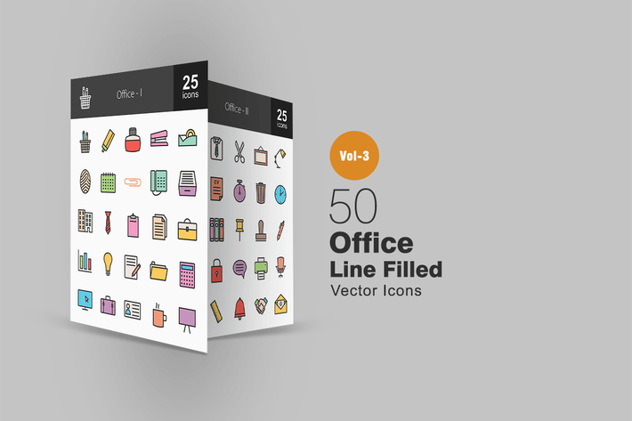 Thumbnail for 50 Office Line Filled Icons