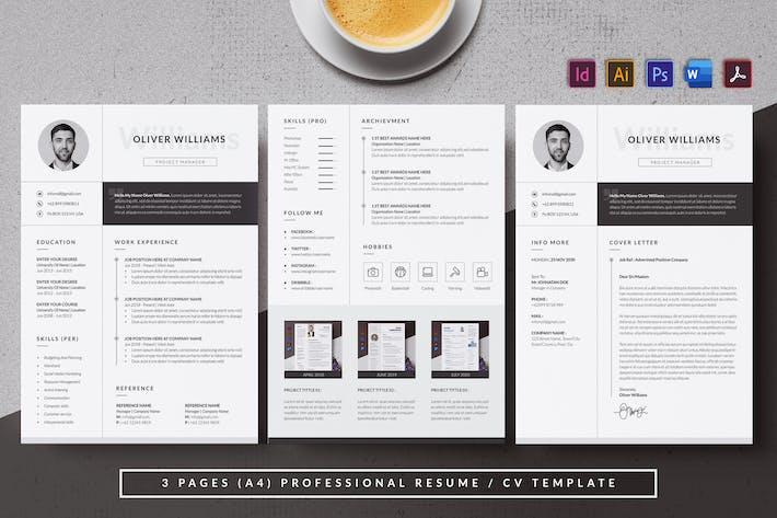 Thumbnail for Monochrome & Minimal Resume/CV AN