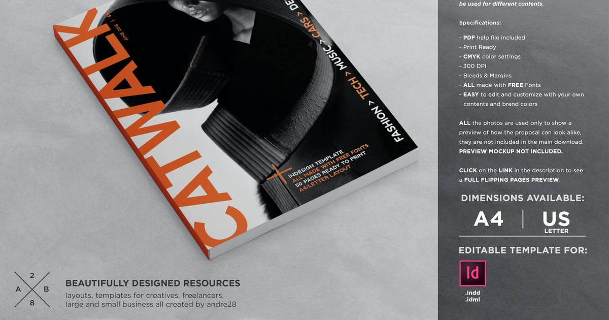 Catwalk Magazine Indesign Template by andre28 on Envato Elements