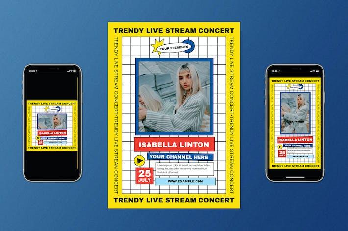 Thumbnail for Trendy Live Stream Music Flyer Set