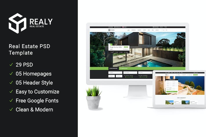 Cover Image For Realy | Real Estate PSD Template