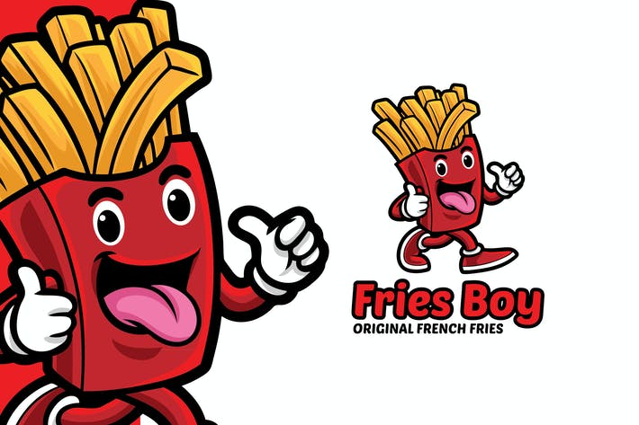 Thumbnail for French Fries Boy Logo Mascot Template