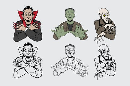 Horror Characters Vintage Drawing
