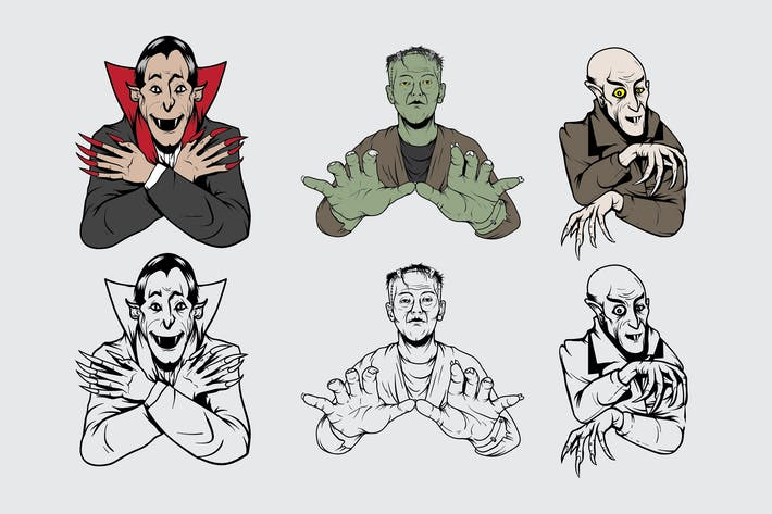 Cover Image For Horror Characters Vintage Drawing