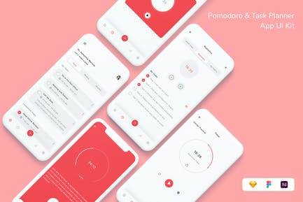 Pomodoro & Task Planner App UI Kit