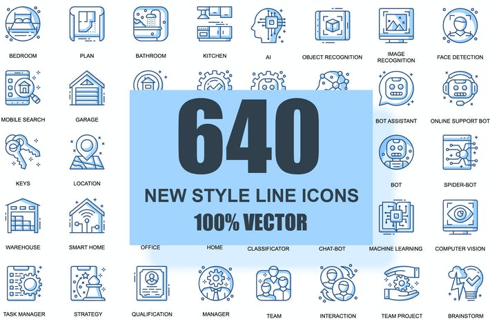 Thumbnail for BIG Collection Business Thin Line Icons