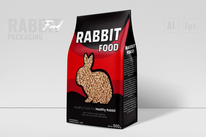 Emballage nutritionnel pour lapin