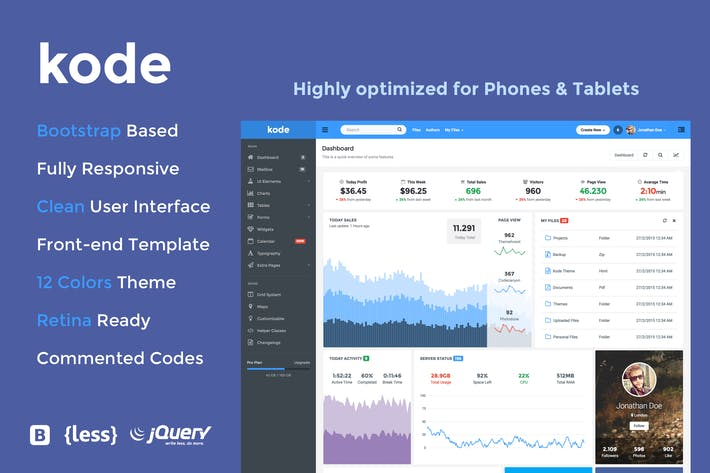 Cover Image For Kode - Responsive Admin Dashboard Template