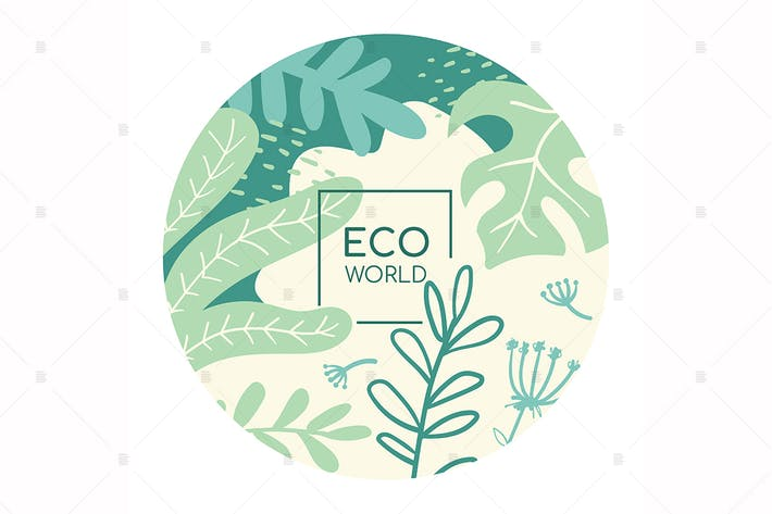 Thumbnail for Eco world flat social media banner