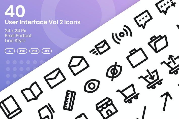 40 Пользовательский интерфейс Vol 2 Набор Иконки - линия